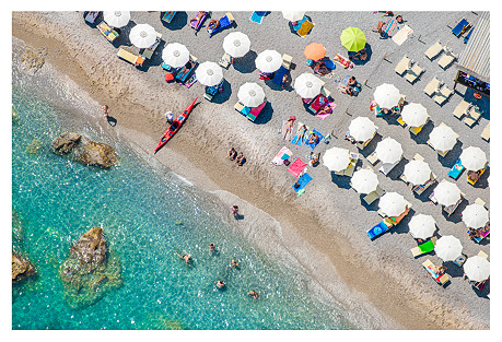 Gray Malin, Amalfi White Umbrellas