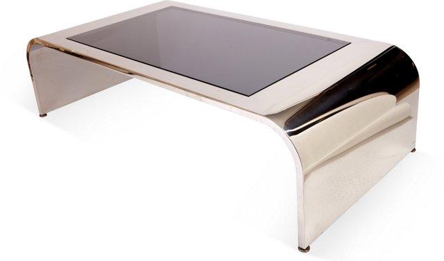 Chrome & Smoked-Glass Coffee Table