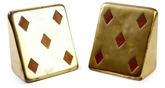 Brass 5 of Diamonds Bookends