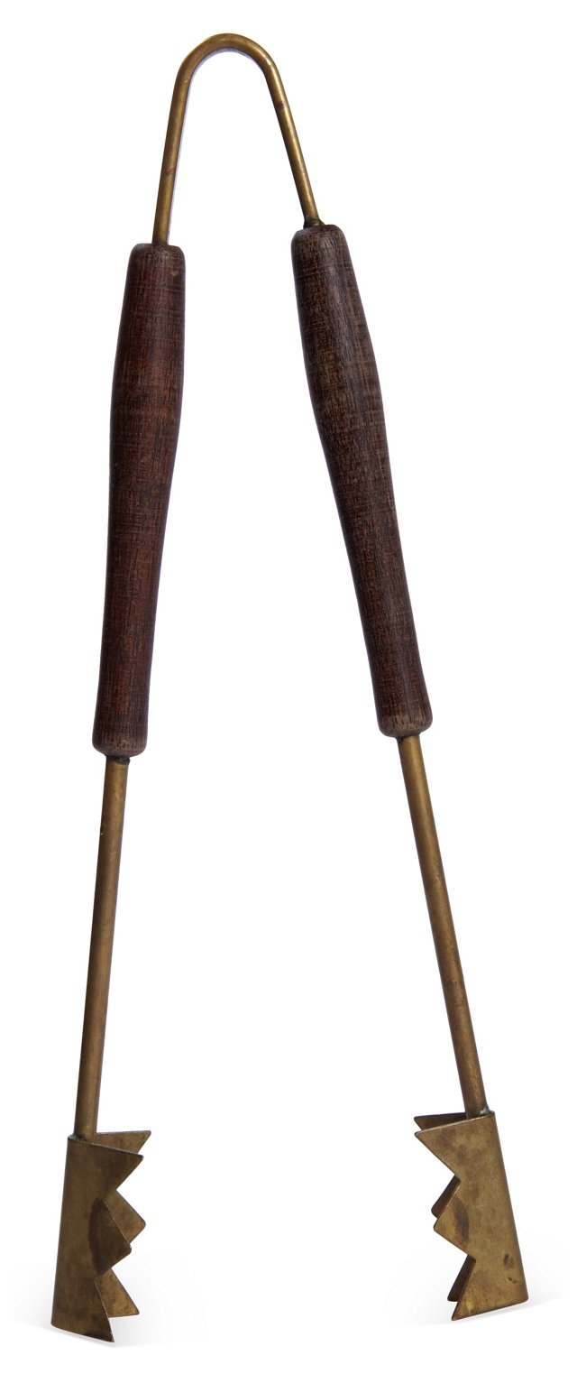Teak & Brass Ice Tongs