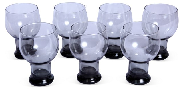 Smoke-Gray Goblets, Set of 7