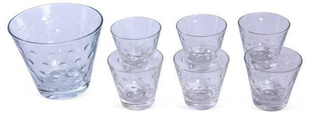 Ice Bucket w/ 6 Cocktail Glasses