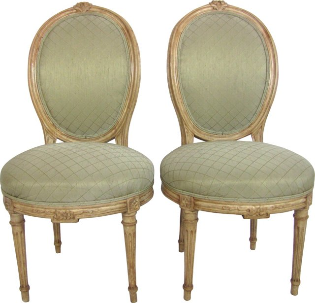 Louis XVI-Style Slipper Chairs, Pair