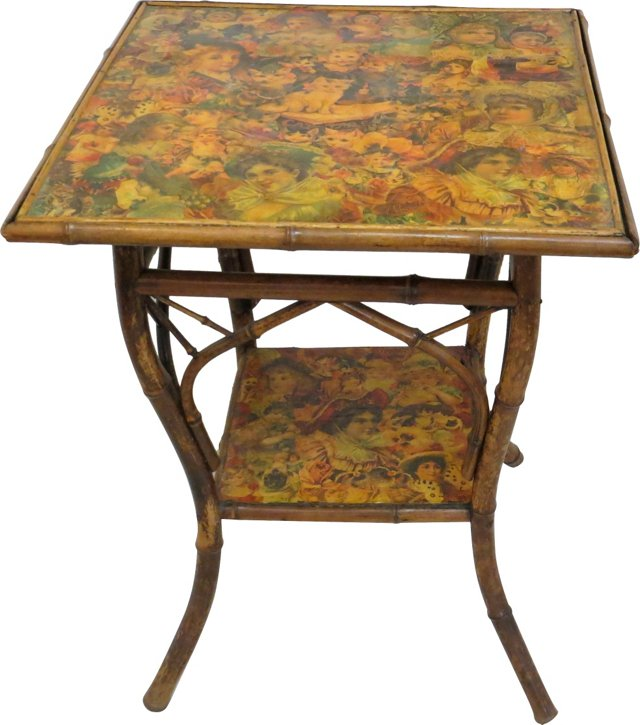 19th-C. Decoupage Bamboo Table