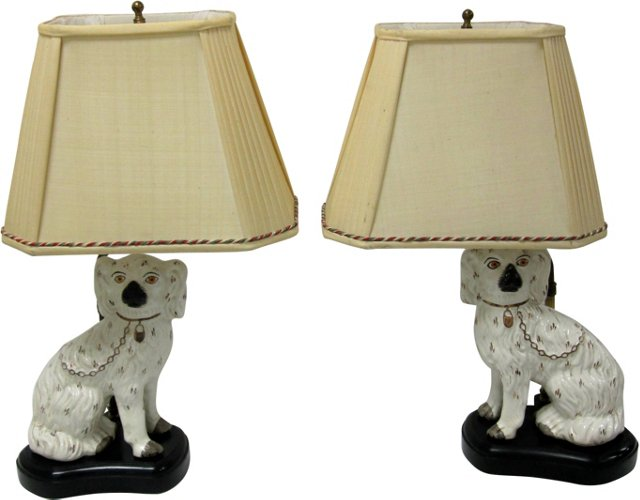 Staffordshire Dog Lamps, Pair