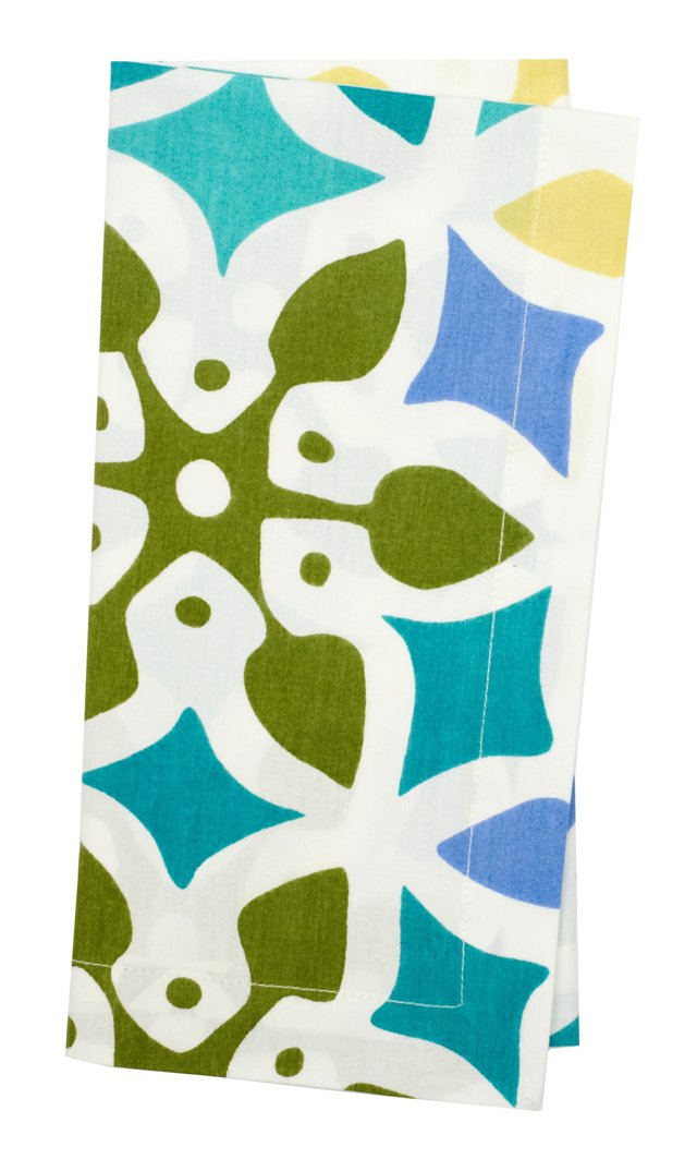 S/4 Multi Tile Napkins, Blue