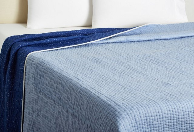 Twin Reversible Seed-Stitch Quilt, Peri/