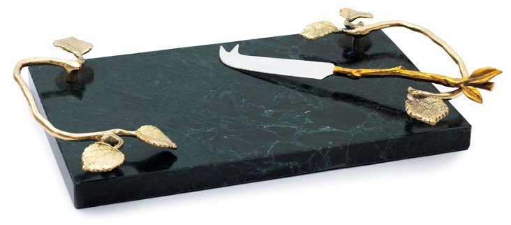 Leaf Marble Cheese Platter & Knife