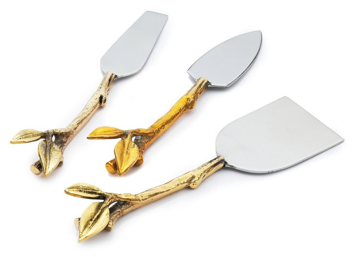 Silver-Plated Leaf Cheese Knife Set