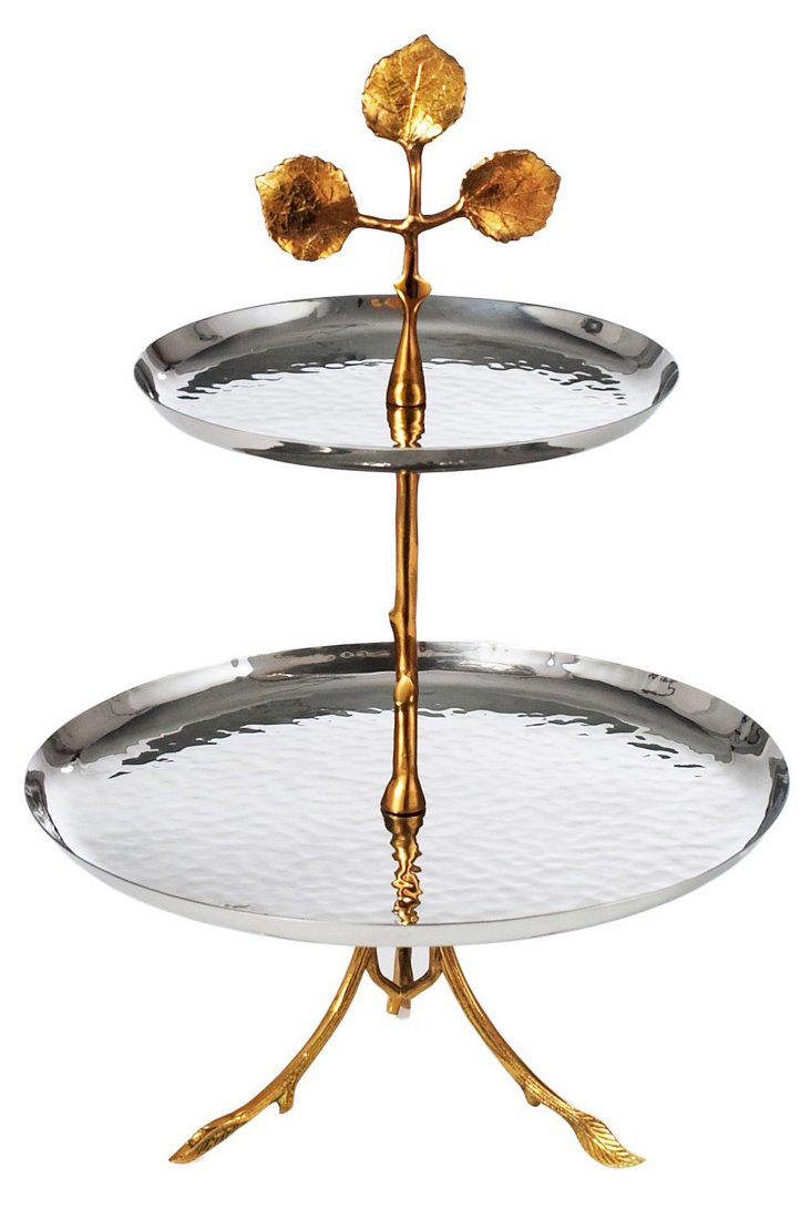 2-Tier Silver-Plated Leaf Serving Tray
