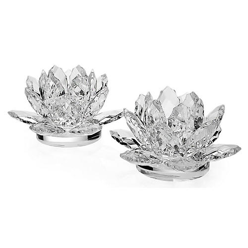 S/2 Crystal Lotus Candlestick Holders