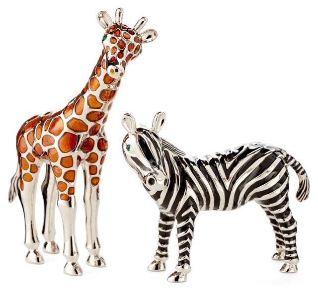 Silver-Plated Giraffe & Zebra Shakers