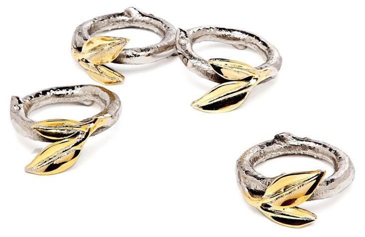S/4 Stainless-Steel Leaf Napkin Rings