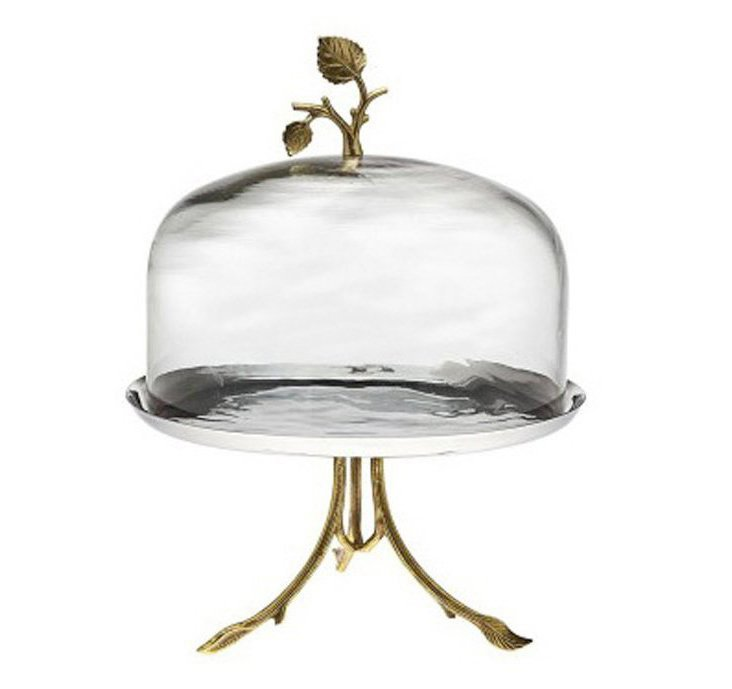 Leaf Footed Cake Plate & Glass Dome