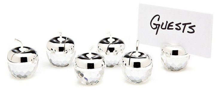 S/6 Silver-Plated Apple Place Cards