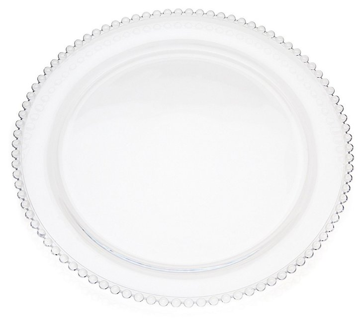 S/4 Glass Pearled Rim Dinner Plates