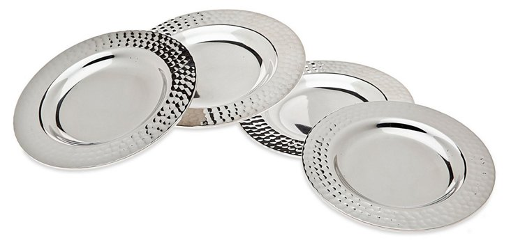 S/4 Silver-Plated Hammered Coasters