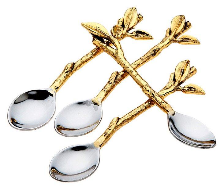 S/4 Leaf Dessert Spoons