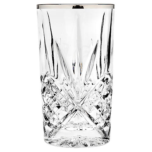 S/4 Dublin Highball Glasses, Platinum