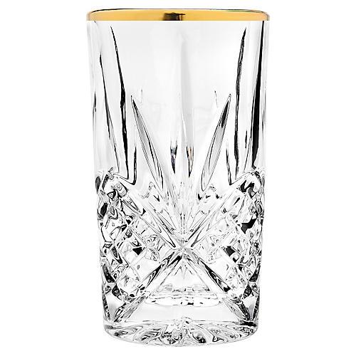 S/4 Dublin Highball Glasses, Gold Banded