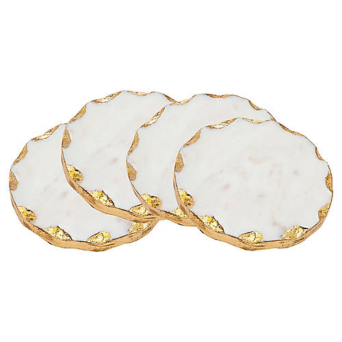 S/4 Round Marble Coasters, White/Gold
