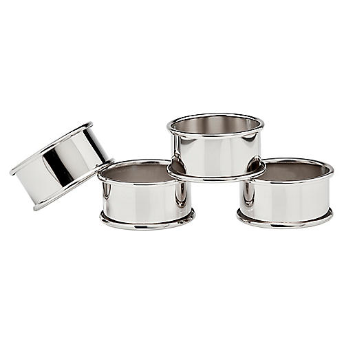 S/4 Round Napkin Rings, Silver