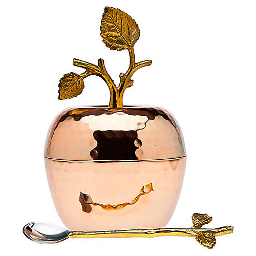 Asst. of 2 Leaf Sugar Pot w/ Spoon, Copper