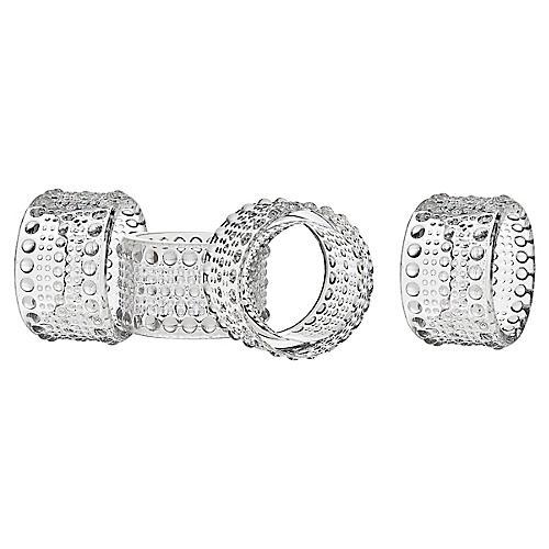 S/4 Lumina Napkin Rings, Clear