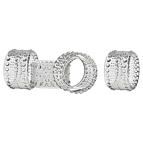 S/4 Lumina Napkin Rings, Clear