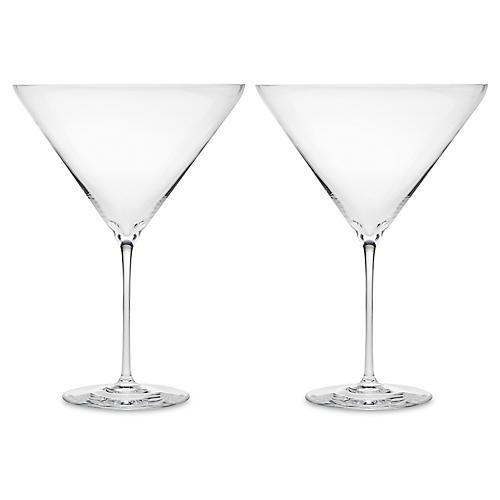 S/2 Carat Large Martini Glasses, Clear