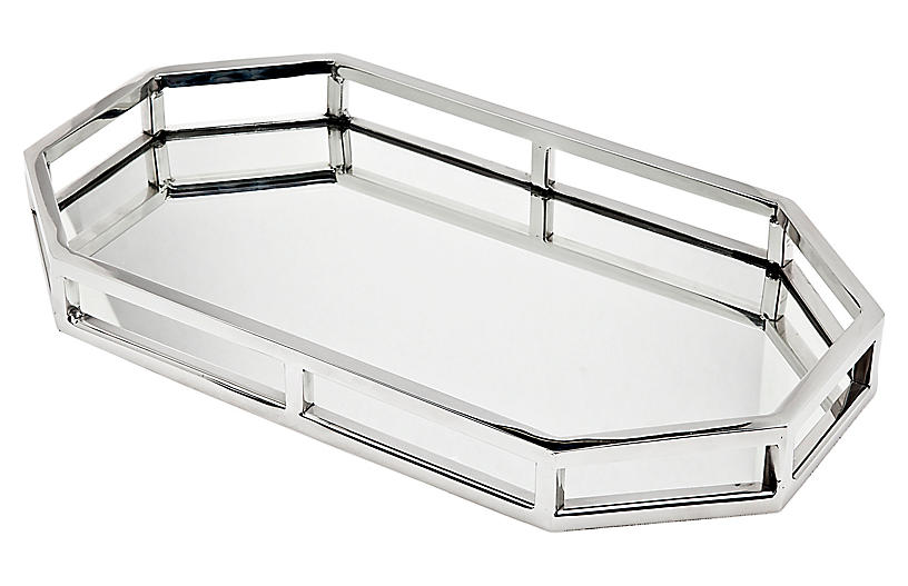 Aspen Octagonal Serving Tray, Silver