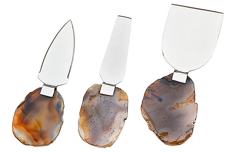 Asst. of 3 Tamela Cheese Knives, Natural/Silver