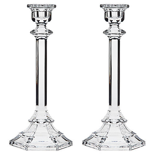 S/2 Alta Crystal Candlesticks, Clear