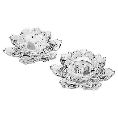 S/2 Lily Crystal Votives, Clear
