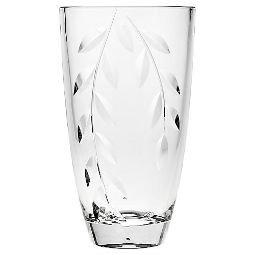 "10"" Frond Crystal Vase, Clear"