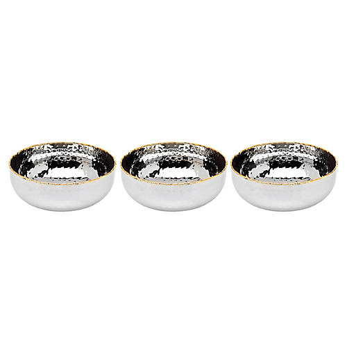 S/3 Anabella Serving Bowls, Silver/Gold
