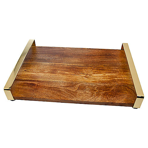 Arielle Serving Tray, Brown/Gold