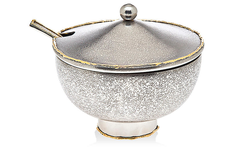 Laila Sugar Pot w/Spoon, Silver/Gold