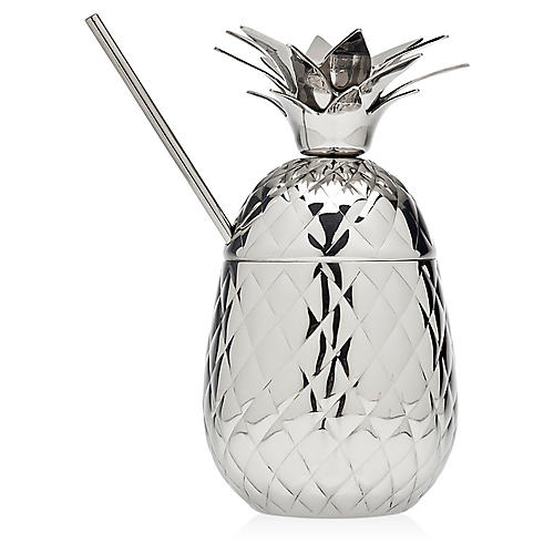 Pineapple Covered Mug & Straw, Silver