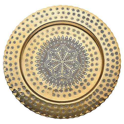 Rubi Serving Plate, Brass
