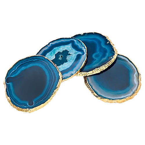 S/4 Madalynn Coasters, Blue/Gold