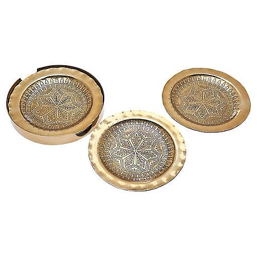 S/4 Rubi Coasters, Brass