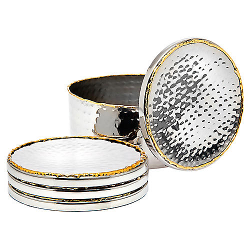 Asst. of 5 Anabella Coasters w/ Holder, Silver
