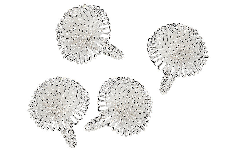 S/4 Aster Napkin Rings, Silver