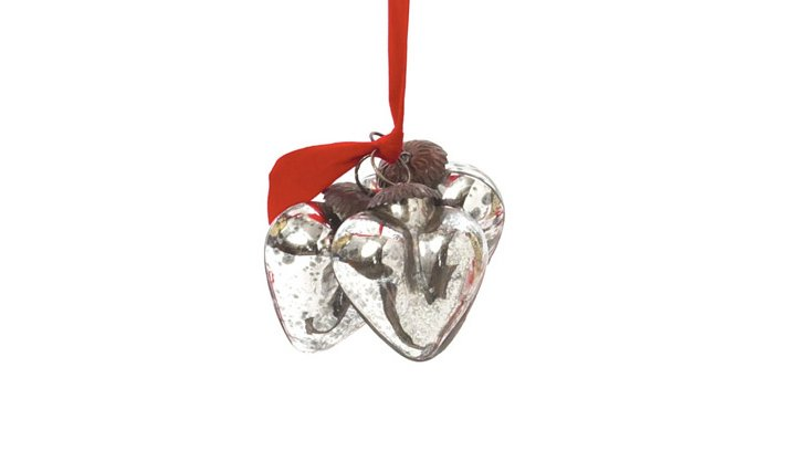 S/9 Smooth Silver Heart Ornaments