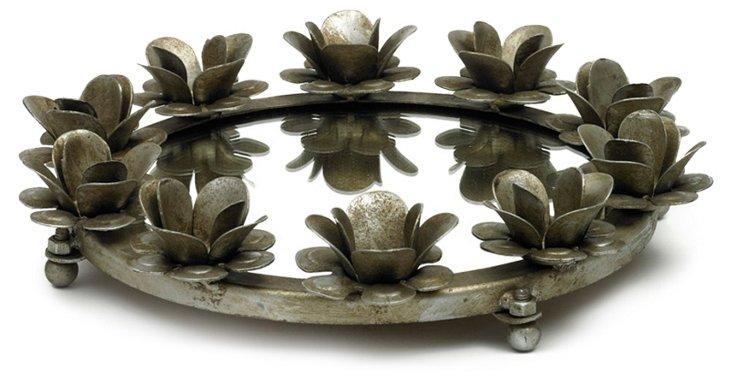 "15"" Roses Round Mirrored Tray"
