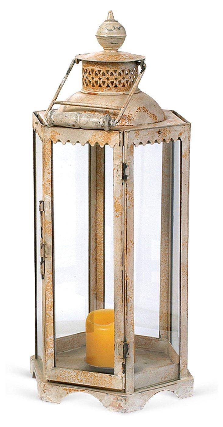 """25"""" Seaside Lantern, White/Orange"""