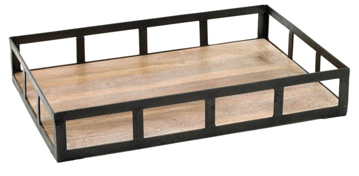 "23"" Wood Spencer Tray, Black"