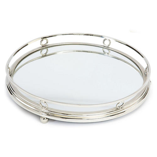 """12"""" Geometric Bar Tray, Silver"""