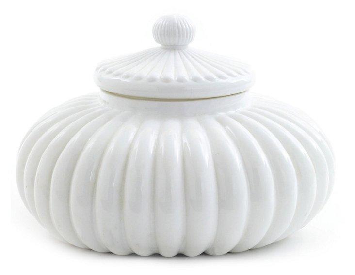 "15"" Scalloped Jar, White"